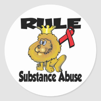 Rule Substance Abuse Round Sticker