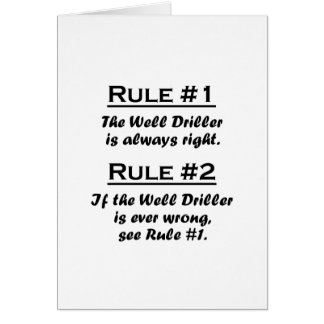 Rule Well Driller Card