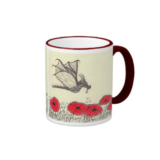 Ruler of the Garden - Dragon-fly Mug with Red Popp