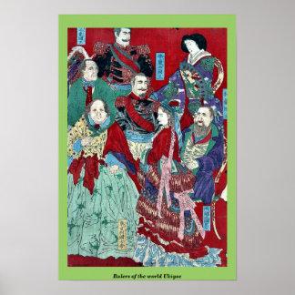 Rulers of the world Ukiyoe Poster