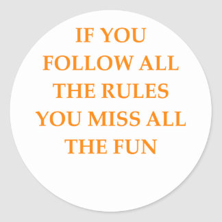 rules classic round sticker
