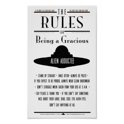 Rules for Being a Gracious Abductee Print