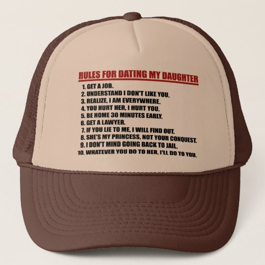 Rules For Dating My Daughter brown/tan Trucker Hat