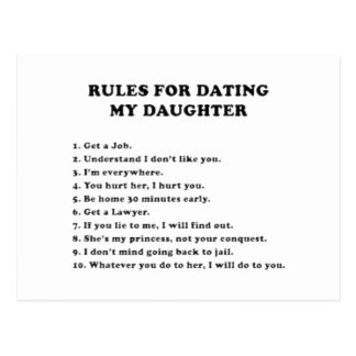Rules for dating my daughter postcard