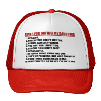 Rules For Dating My Daughter Red Trucker Hat