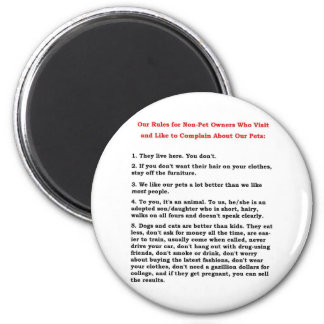 RULES FOR NON-PET 2 INCH ROUND MAGNET
