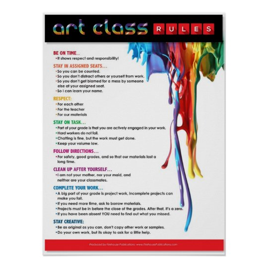 Rules for the Art Classroom Poster | Zazzle.com