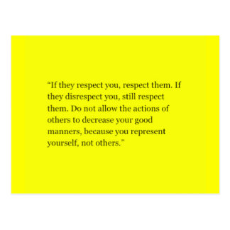 RULES OF RESPECTING OTHERS QUOTES EXPRESSIONS SHOU POSTCARD