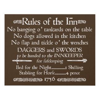 Rules of the Inn, 18th Century Innkeeper Sign
