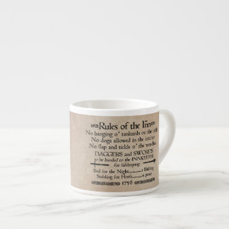 Rules of the Inn, 18th Century Innkeeper Sign Espresso Cup