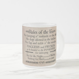 Rules of the Inn, 18th Century Innkeeper Sign Frosted Glass Coffee Mug