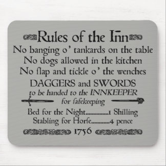 Rules of the Inn, 18th Century Innkeeper Sign Mouse Pad