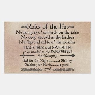 Rules of the Inn, 18th Century Innkeeper Sign Rectangular Sticker