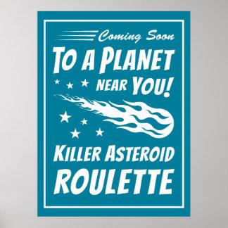 Ruleta asteroide del asesino - astronomía del póster