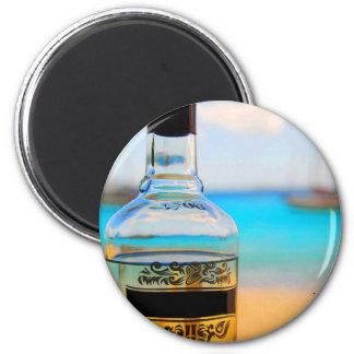 Rum Bottle on Beach Magnet