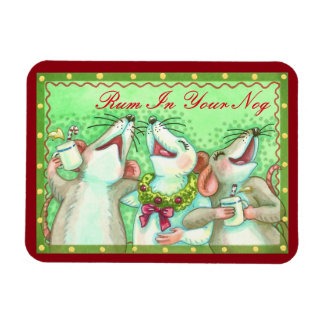 Rum In Your Nog MOUSE CHRISTMAS MAGNET