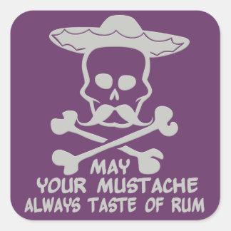 Rum Mustache custom color stickers