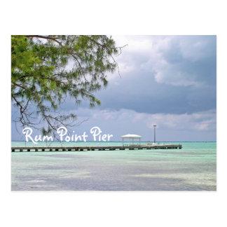 RUM POINT PIER/DARK SKY/GREEN WATER WITH SHADOWS POSTCARD