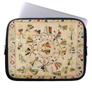 Rumal: square embroidery cover showing Punjabi dan Computer Sleeve