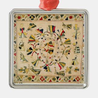 Rumal: square embroidery cover showing Punjabi dan Metal Ornament