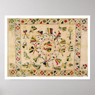 Rumal: square embroidery cover showing Punjabi dan Poster