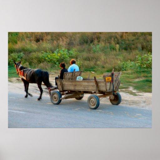 Rumania, caballo y carro poster