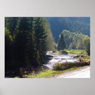 Rumania, el Moldavia, corriente de la montaña Póster
