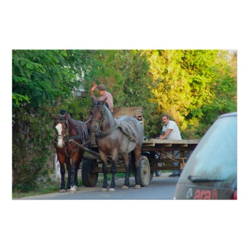 Rumania, transporte, antiguo y moderno poster