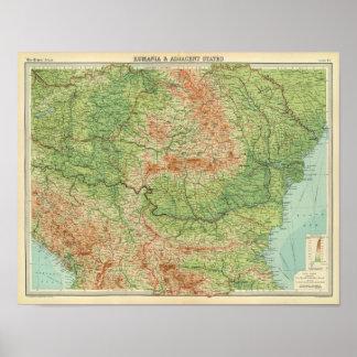 Rumania y estados adyacentes impresiones