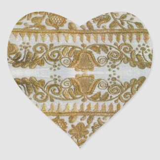 Rumanian traditional embroidery, gold heart sticker