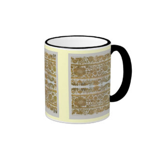 Rumanian traditional embroidery, gold coffee mugs