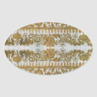 Rumanian traditional embroidery, gold oval sticker