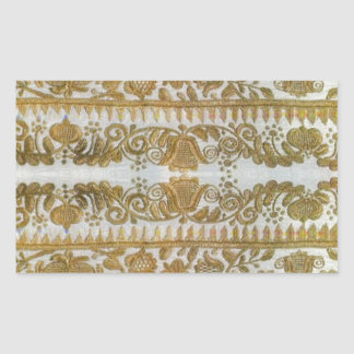 Rumanian traditional embroidery, gold rectangular sticker