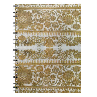 Rumanian traditional embroidery, gold spiral notebook