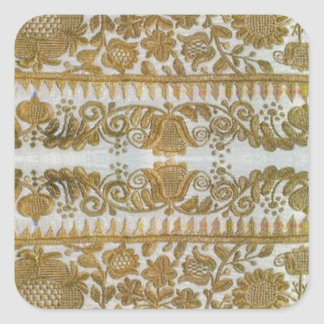 Rumanian traditional embroidery, gold square sticker
