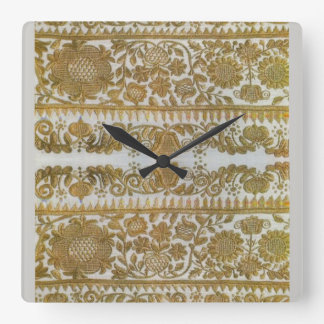 Rumanian traditional embroidery, gold square wall clock