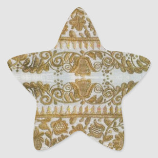 Rumanian traditional embroidery, gold star sticker