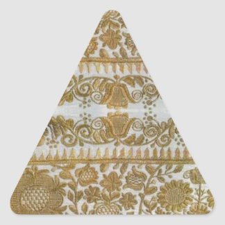 Rumanian traditional embroidery, gold triangle sticker