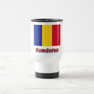 Rumänien Flagge mit Namen 15 Oz Stainless Steel Travel Mug