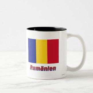 Rumänien Flagge mit Namen Two-Tone Coffee Mug