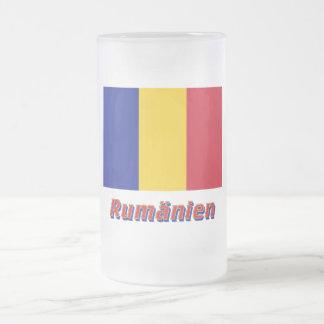 Rumänien Flagge mit Namen 16 Oz Frosted Glass Beer Mug