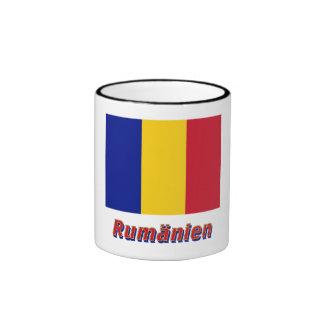 Rumänien Flagge mit Namen Ringer Coffee Mug
