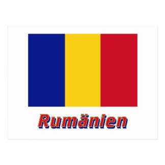 Rumänien Flagge mit Namen Postcard