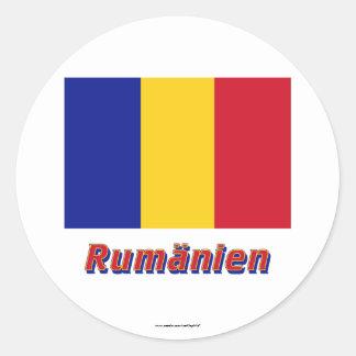 Rumänien Flagge mit Namen Classic Round Sticker