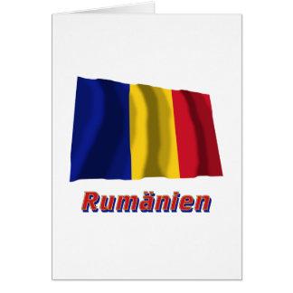 Rumänien Fliegende Flagge mit Namen Greeting Card