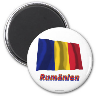 Rumänien Fliegende Flagge mit Namen 2 Inch Round Magnet