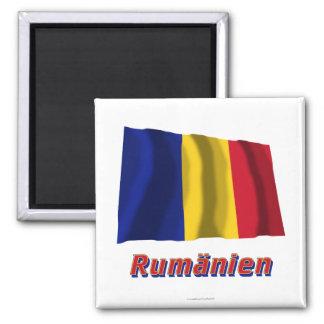 Rumänien Fliegende Flagge mit Namen 2 Inch Square Magnet