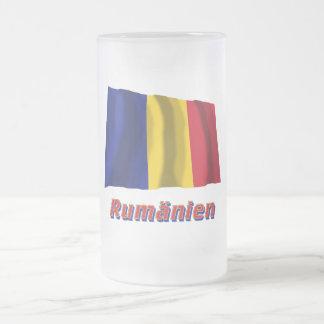 Rumänien Fliegende Flagge mit Namen 16 Oz Frosted Glass Beer Mug