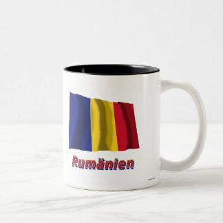 Rumänien Fliegende Flagge mit Namen Two-Tone Coffee Mug
