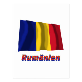 Rumänien Fliegende Flagge mit Namen Postcard